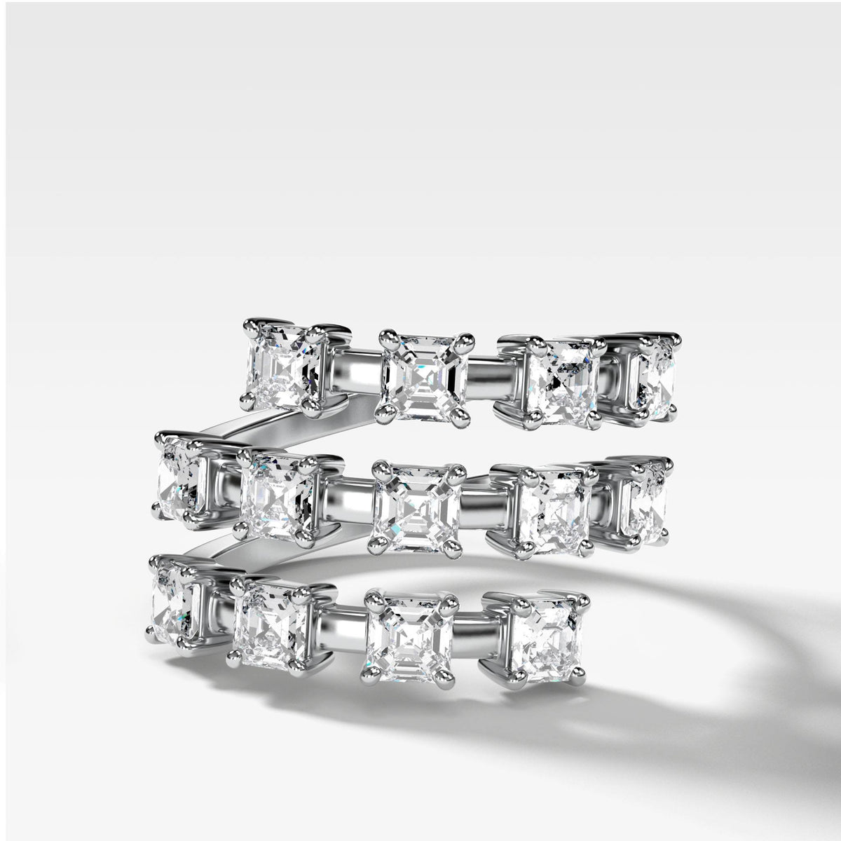 Asscher Wrap Diamond Ring in White Gold by Good Stone