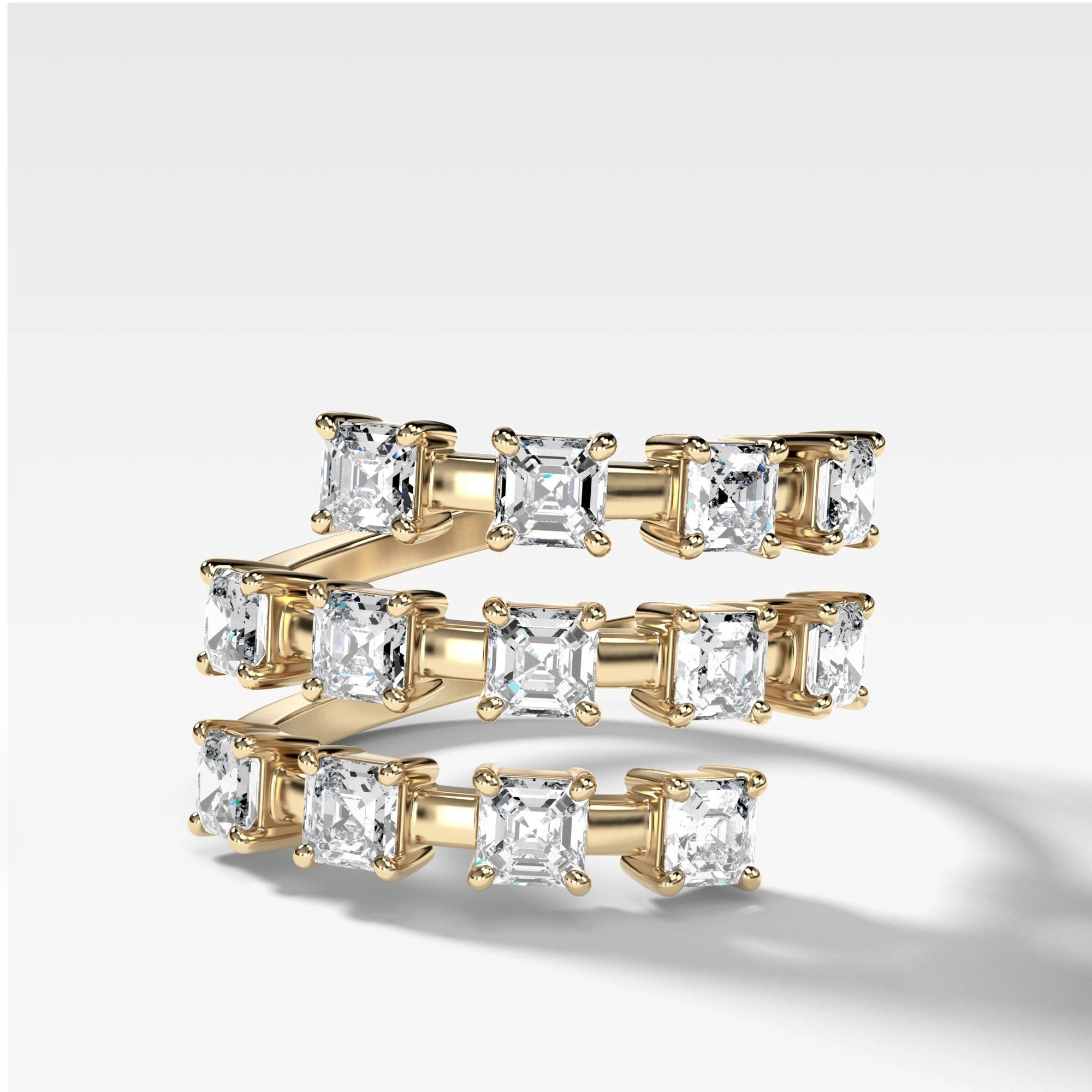 Asscher Wrap Diamond Ring in Yellow Gold by Good Stone