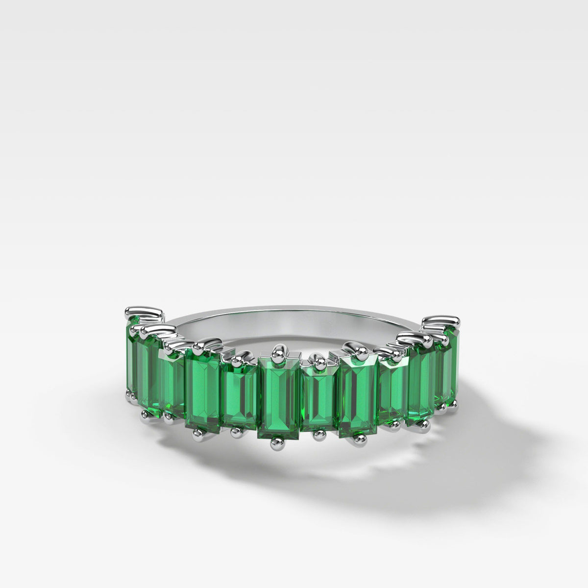 Green Emerald Baguette Stackable Ring In White Gold By Good Stone