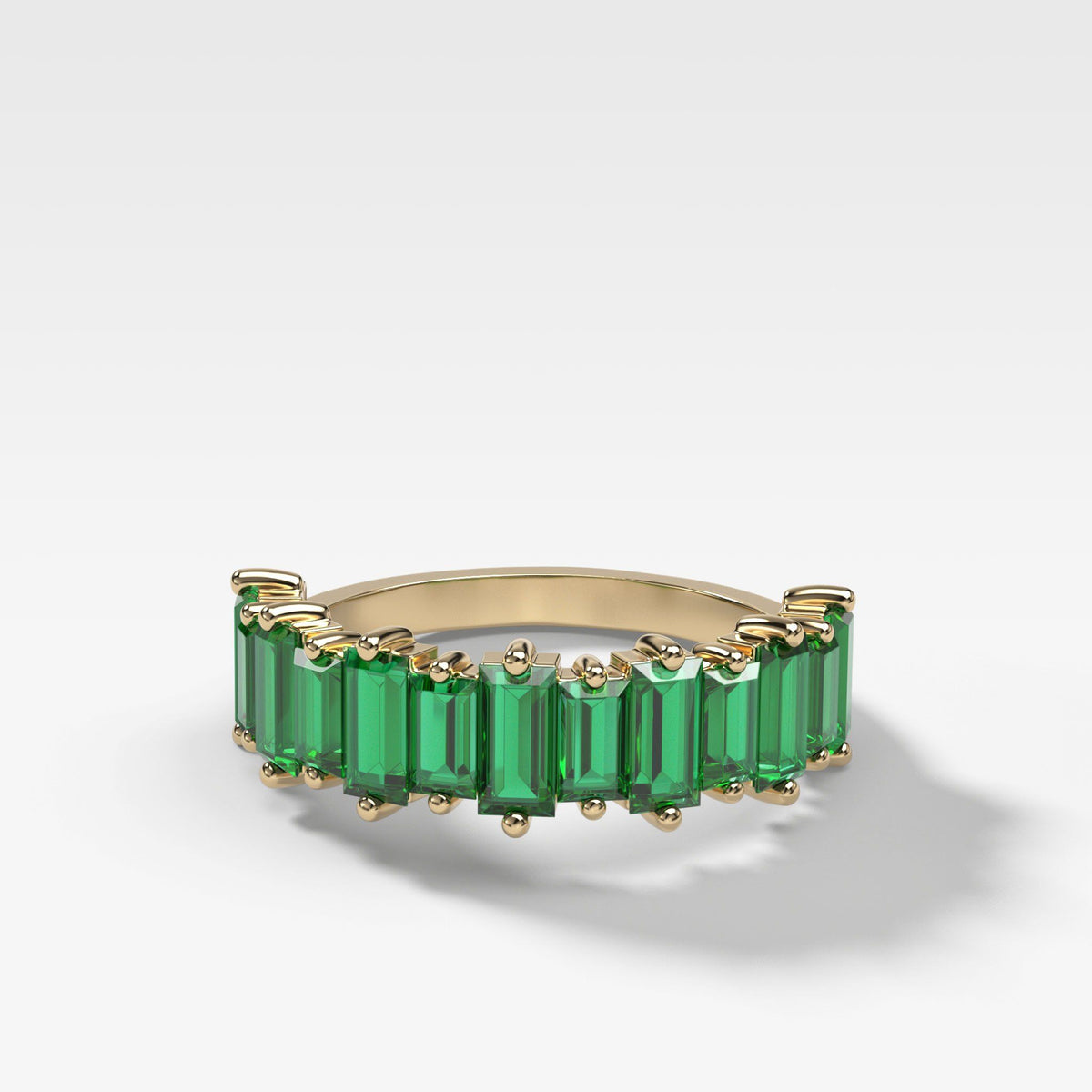 Green Emerald Baguette Stackable Ring In Yellow Gold By Good Stone