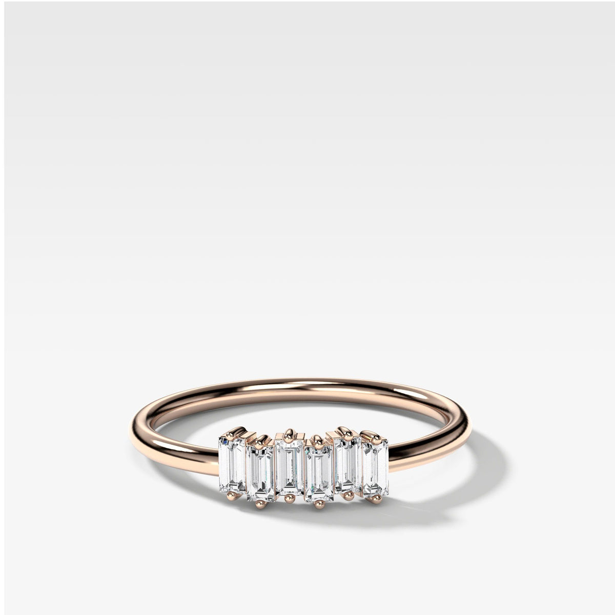 Petite Baguette Stacker Band available in Rose Gold by Good Stone