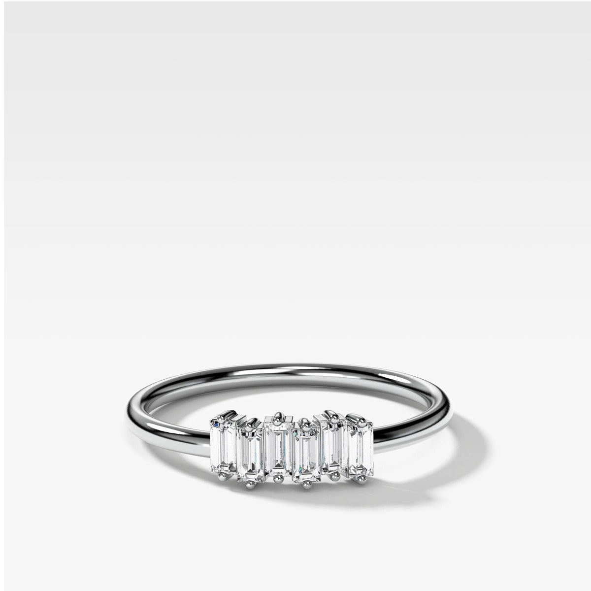 Petite Baguette Stacker Band available in White Gold by Good Stone