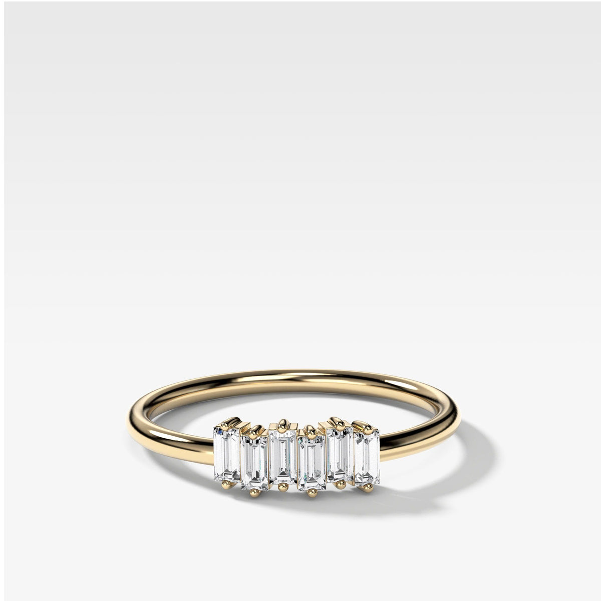 Petite Baguette Stacker Band available in Yellow Gold by Good Stone