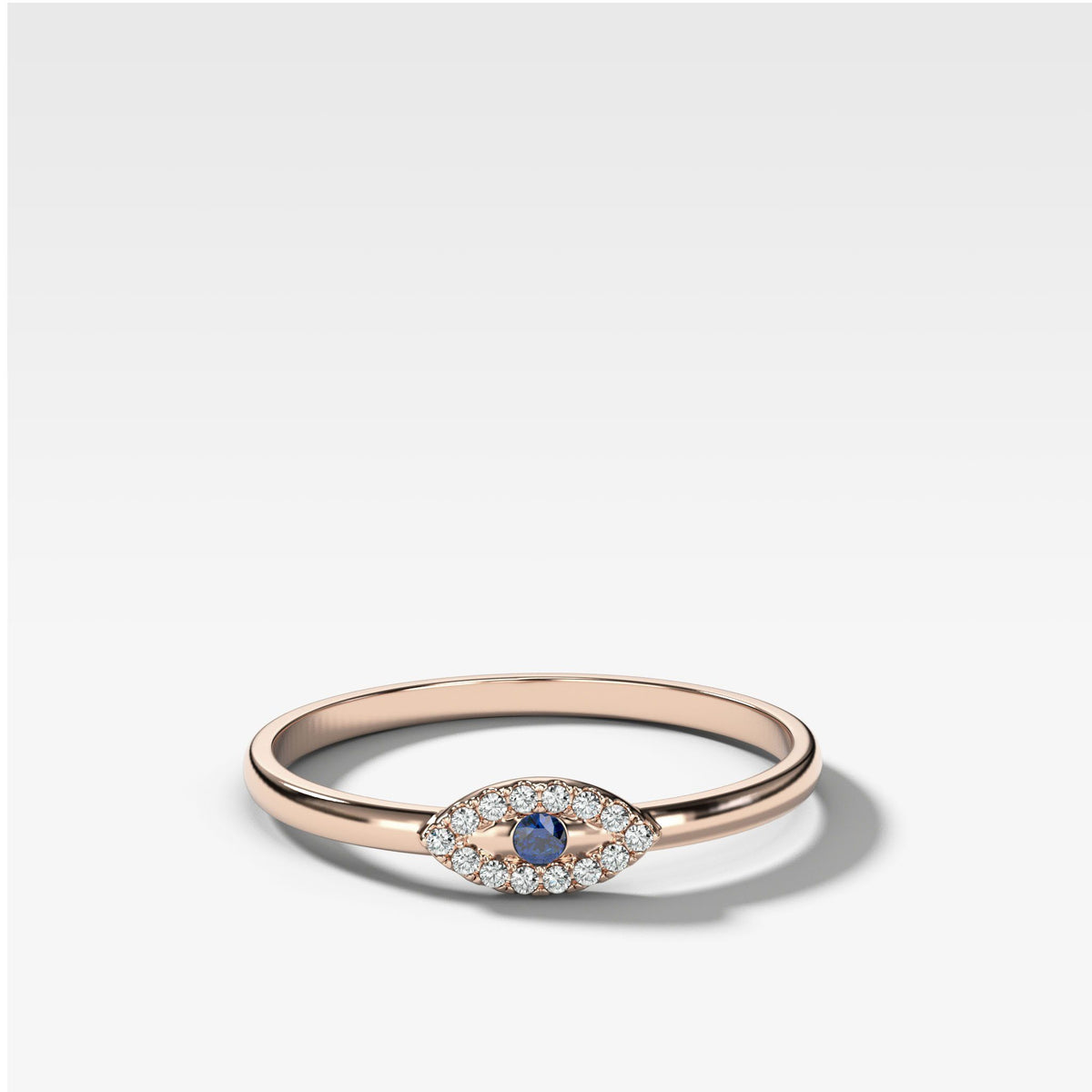 Petite Evil Eye Stacker Band in Rose Gold by Good Stone