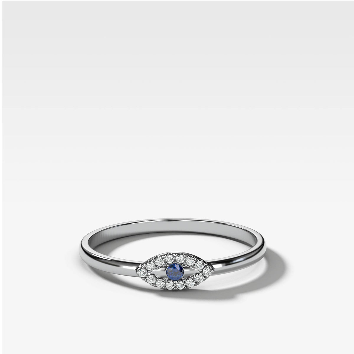 Petite Evil Eye Stacker Band in White Gold by Good Stone