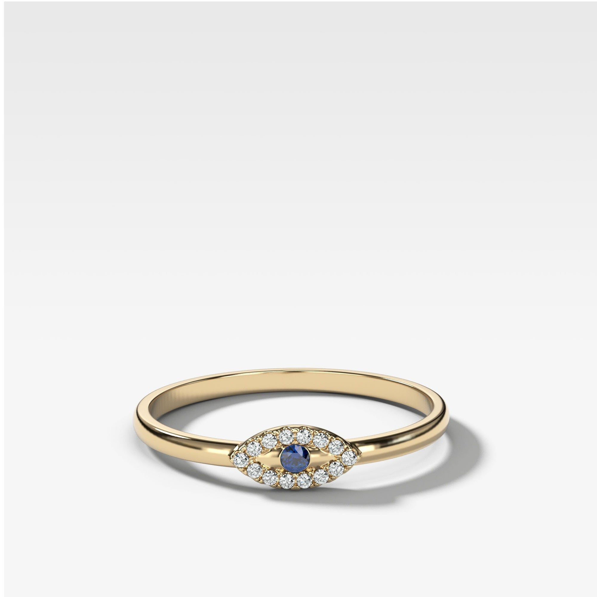 Petite Evil Eye Stacker Band in Yellow Gold by Good Stone