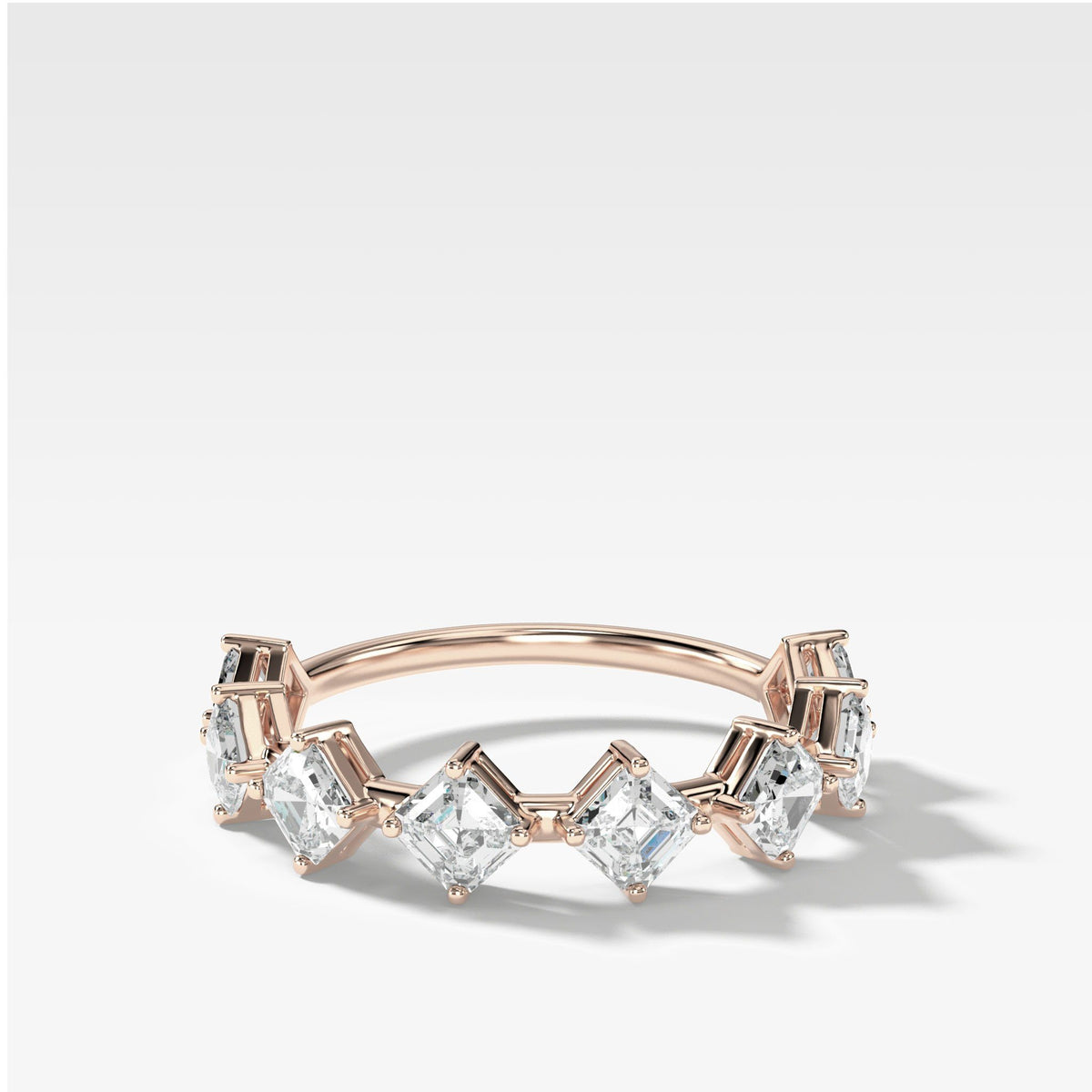 Spaced Asscher Cut Diamond Band in Rose Gold by Good Stone