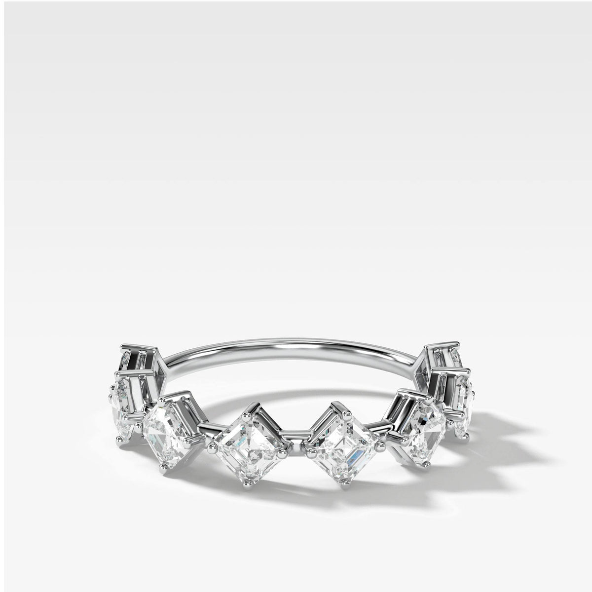 Spaced Asscher Cut Diamond Band in White Gold by Good Stone