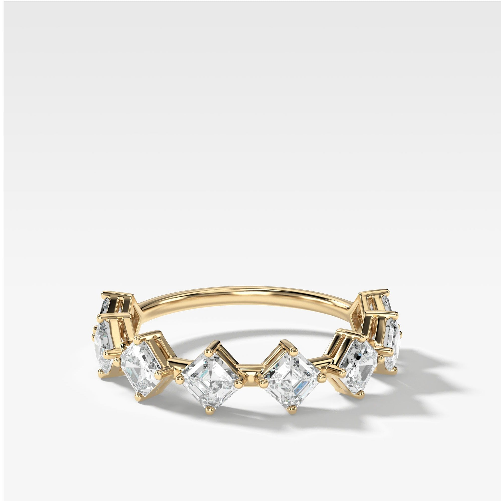 Spaced Asscher Cut Diamond Band in Yellow Gold by Good Stone