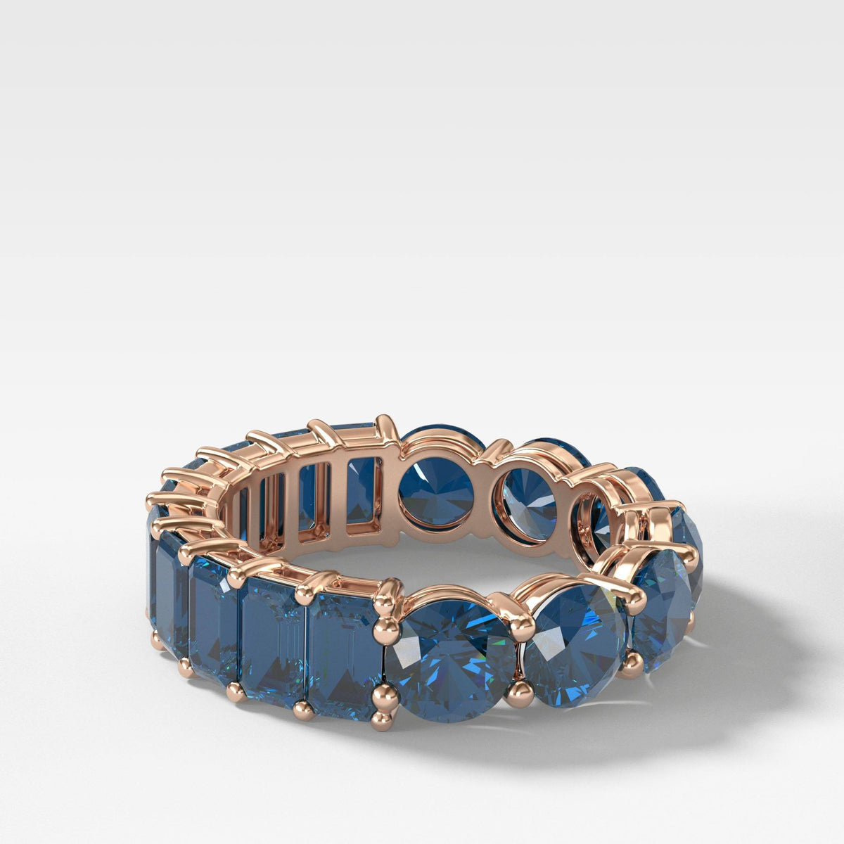 Reversible Sapphire Eternity Band In Rose Gold By Good Stone