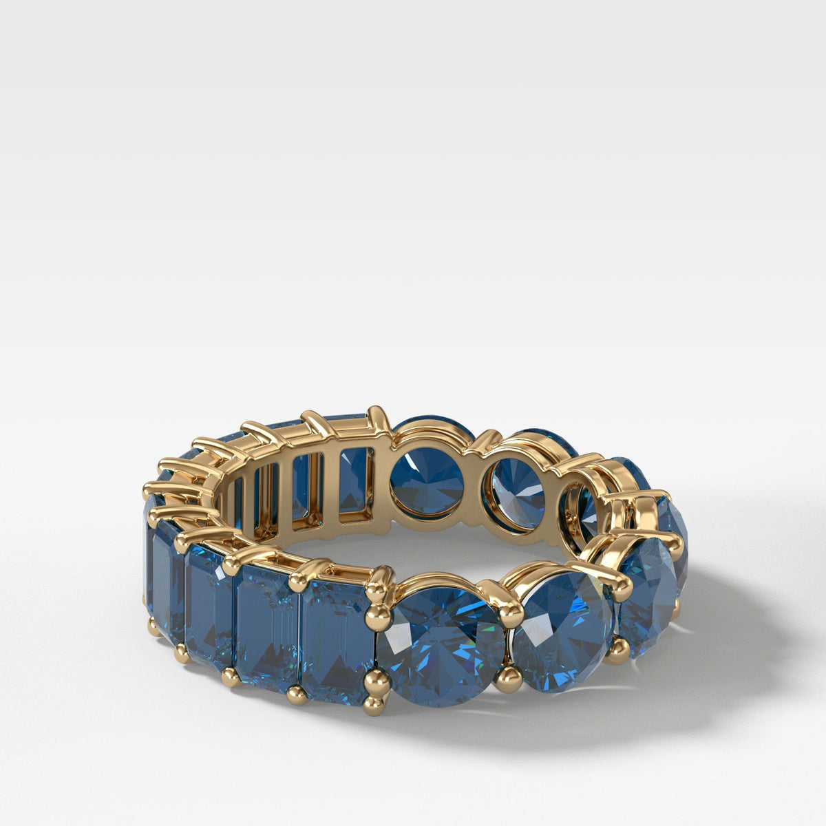 Reversible Sapphire Eternity Band In Yellow Gold By Good Stone