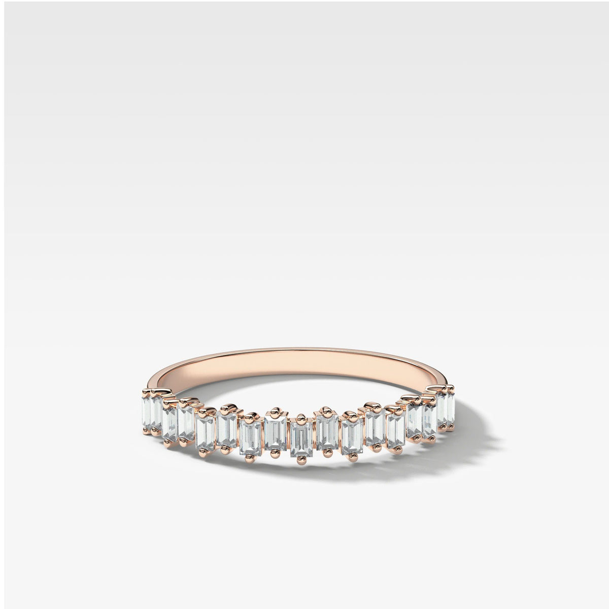 Baby Baguette Diamond Stacker In Rose Gold By Good Stone