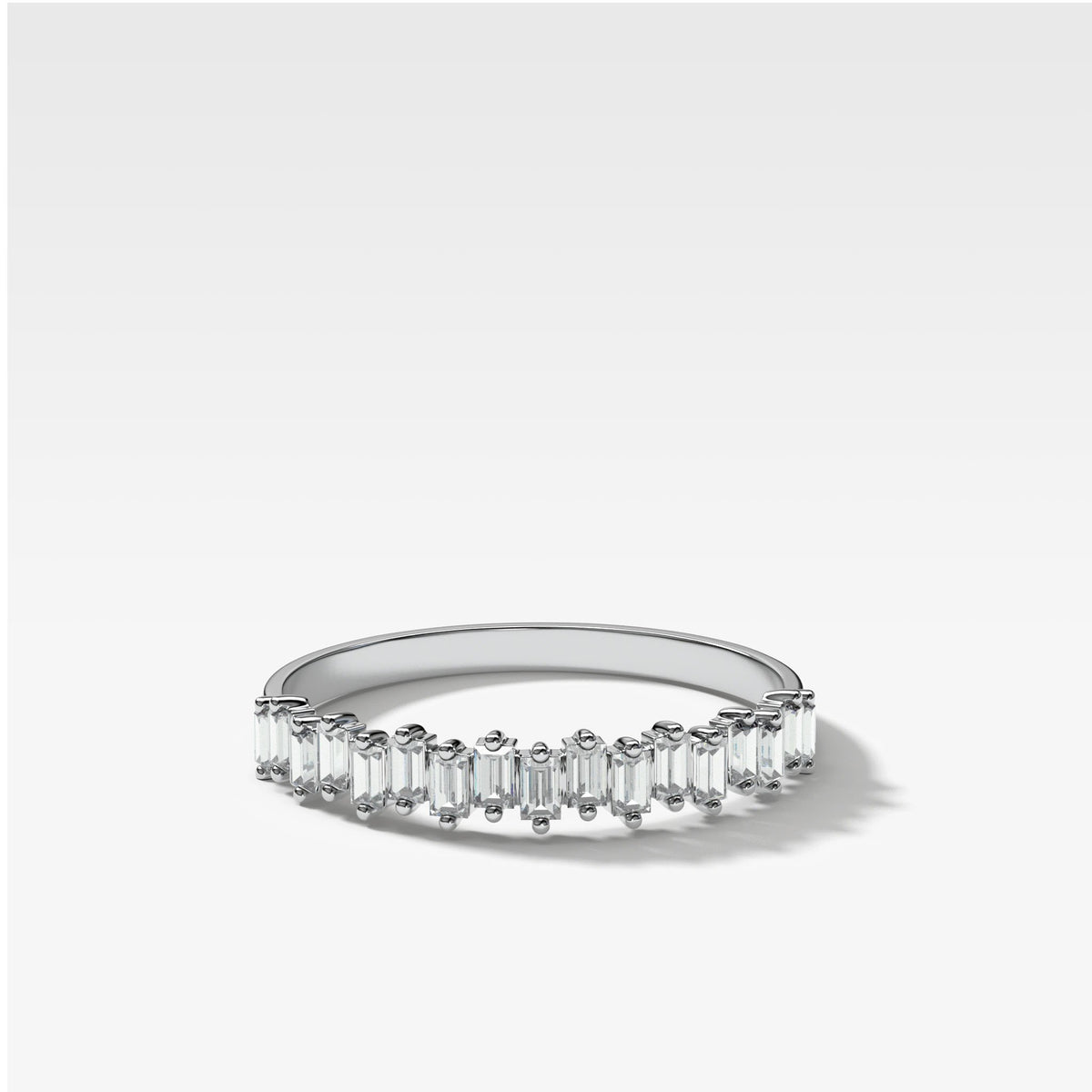 Baby Baguette Diamond Stacker In White Gold By Good Stone