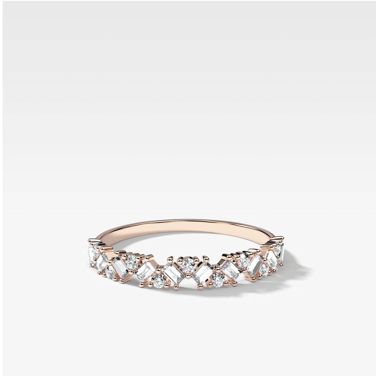 Baguette Diamond Medley Stacker In Rose Gold By Good Stone