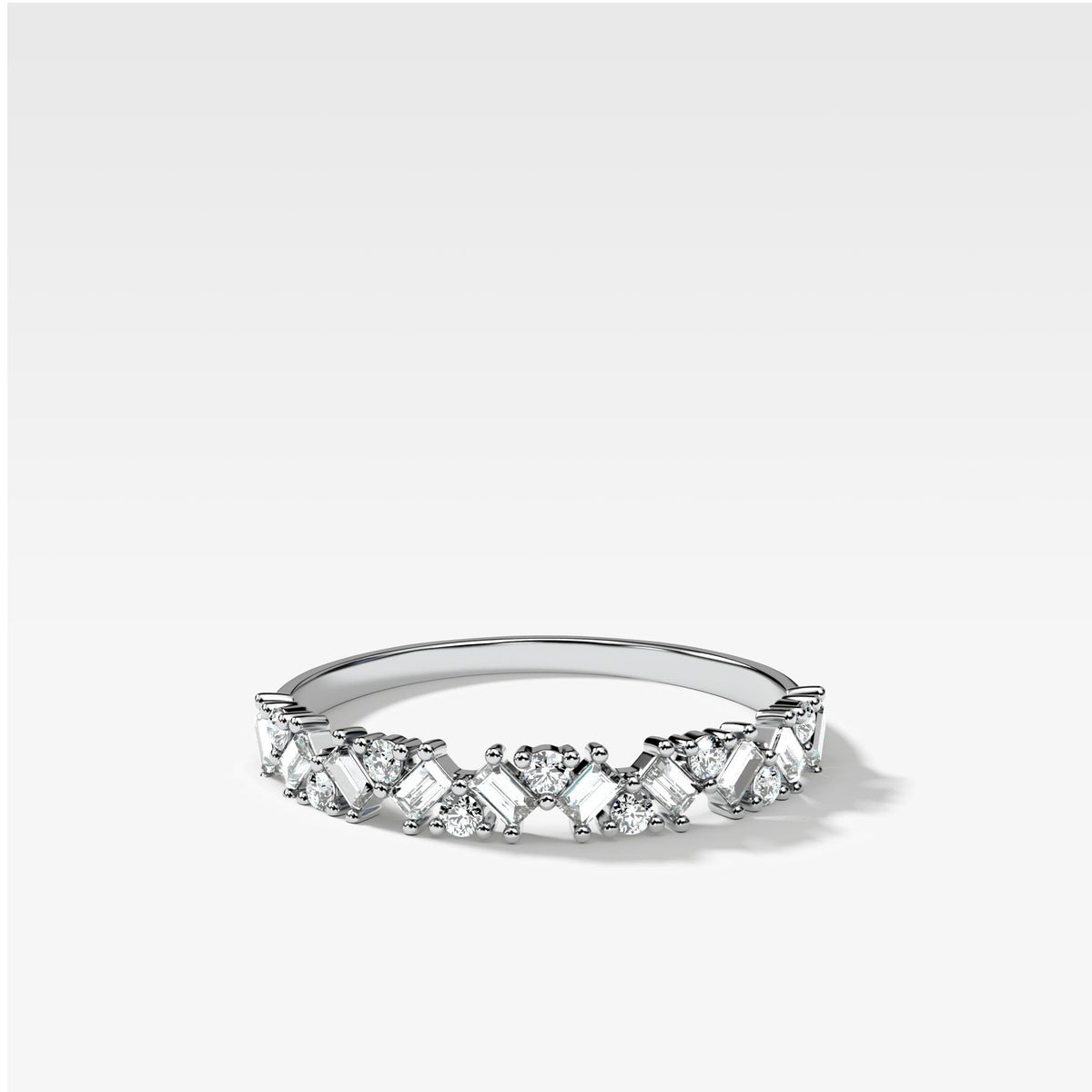 Baguette Diamond Medley Stacker In White Gold By Good Stone