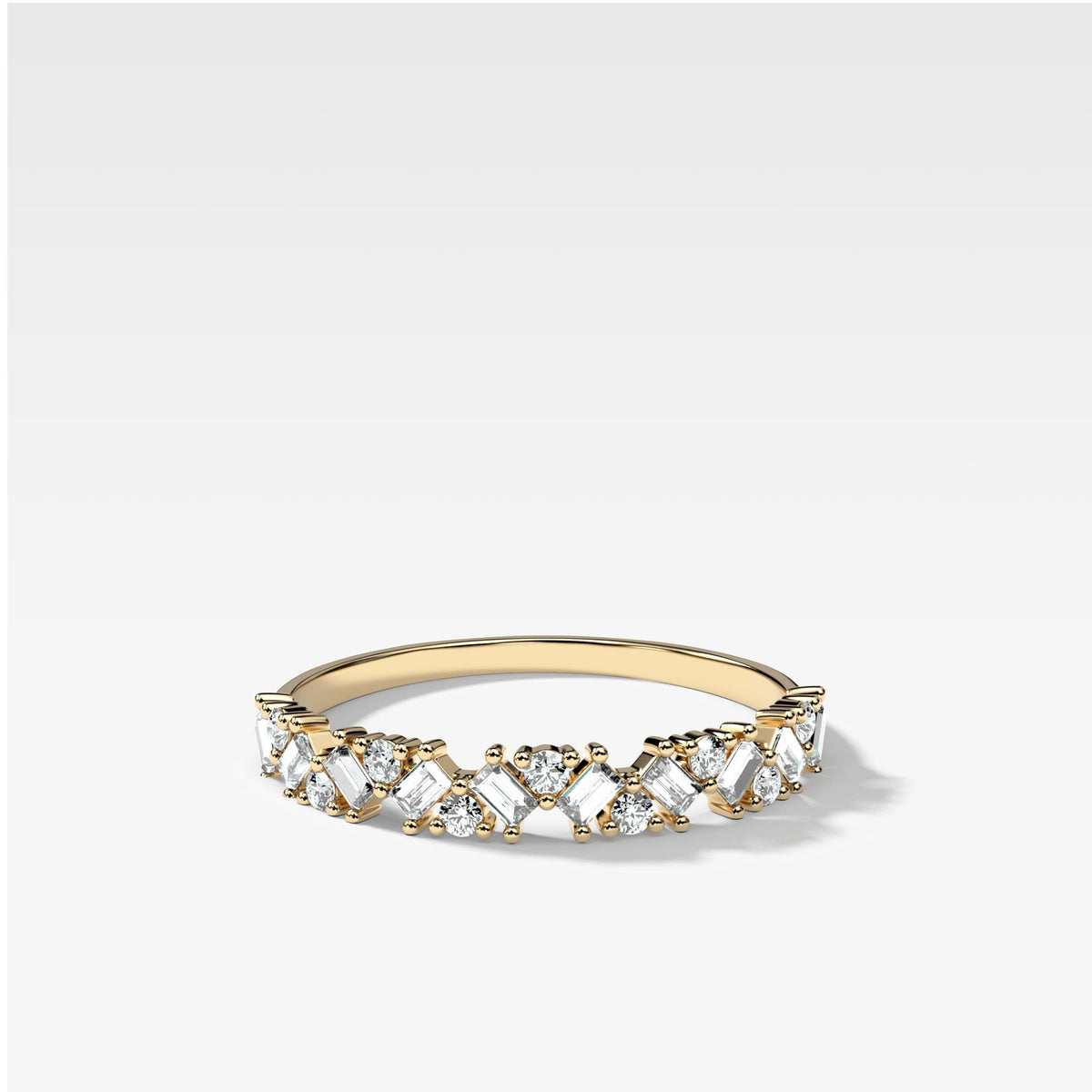 Baguette Diamond Medley Stacker In Yellow Gold By Good Stone