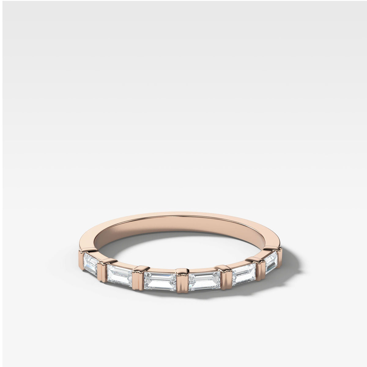 Dainty Baguette Stacker In Rose Gold By Good Stone