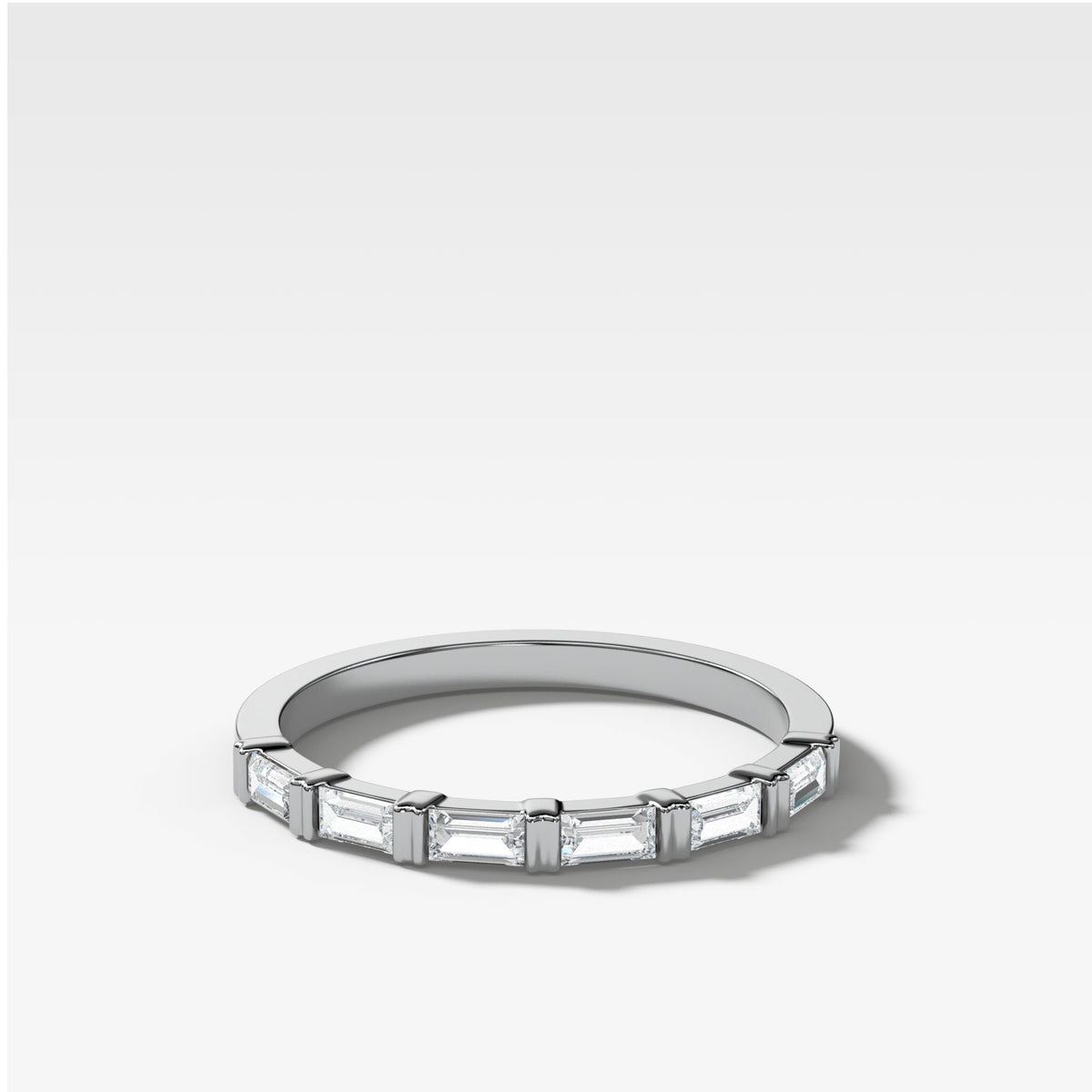 Dainty Baguette Stacker In White Gold By Good Stone
