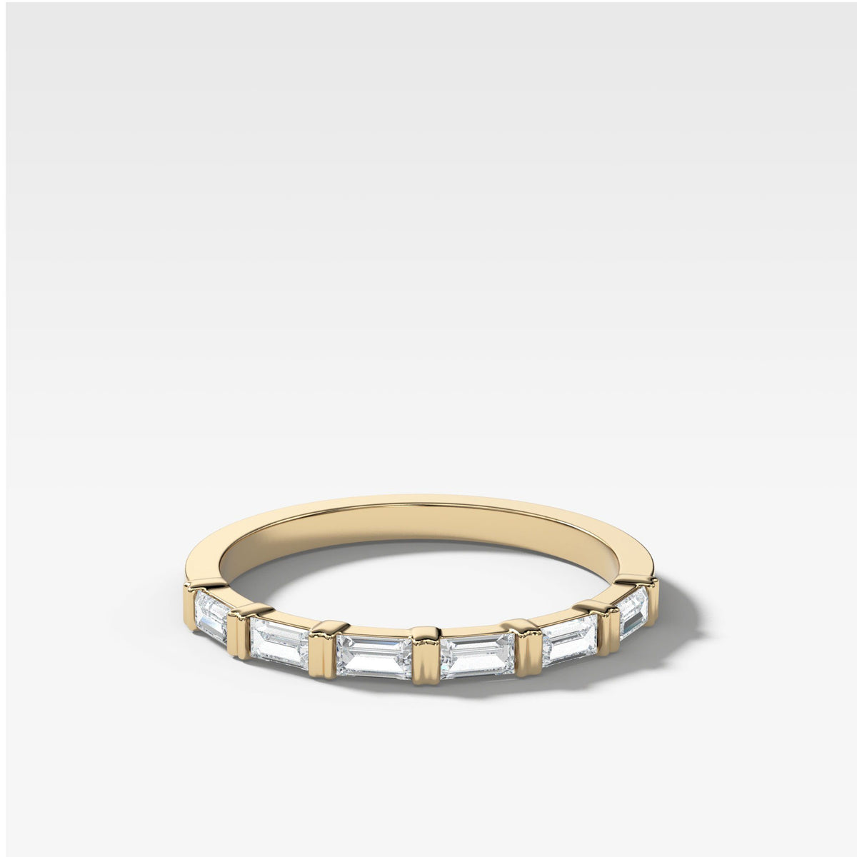 Dainty Baguette Stacker In Yellow Gold By Good Stone