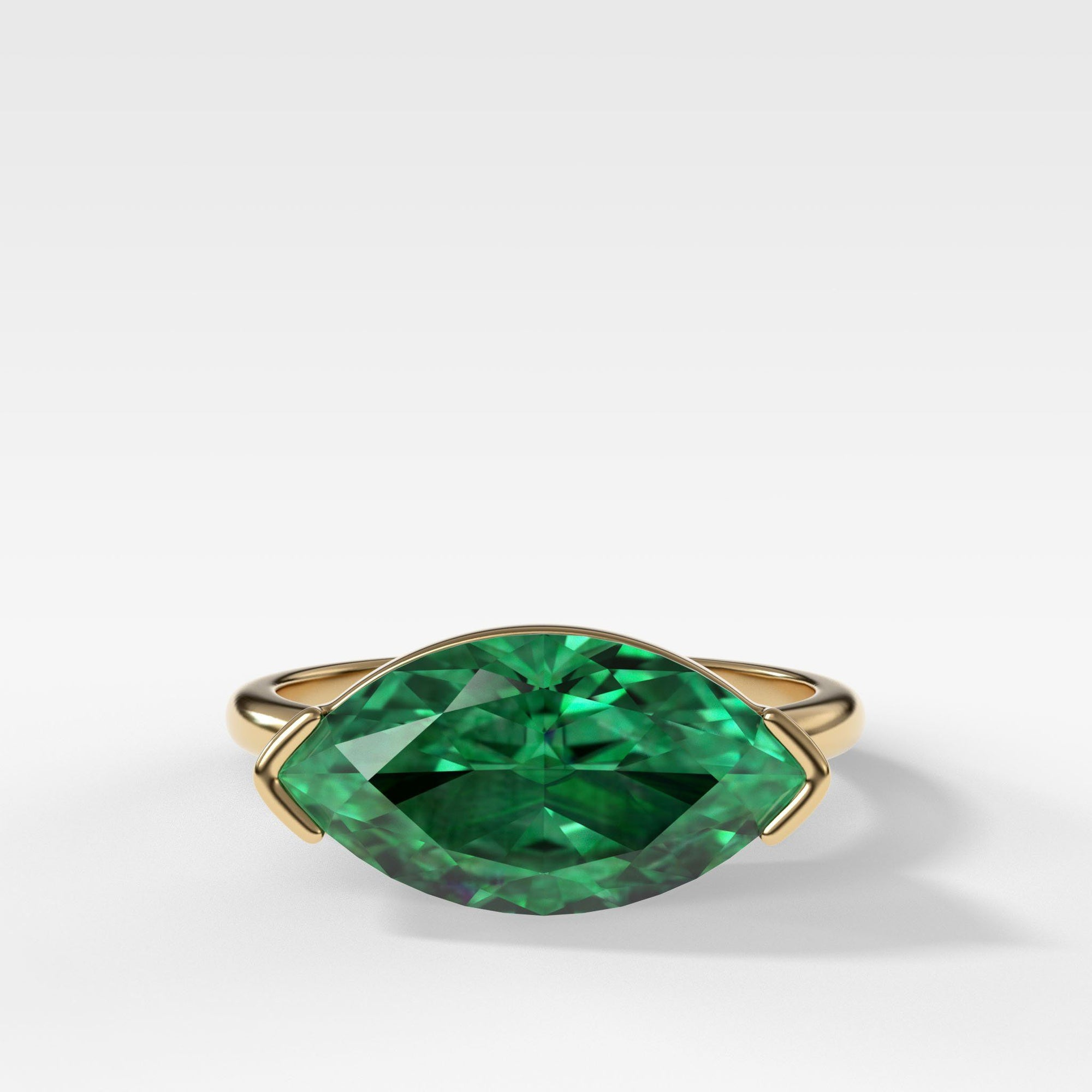 East West Half Bezel Solitaire Engagement Ring With Green Emerald Marquise Cut In Yellow Gold By Good Stone