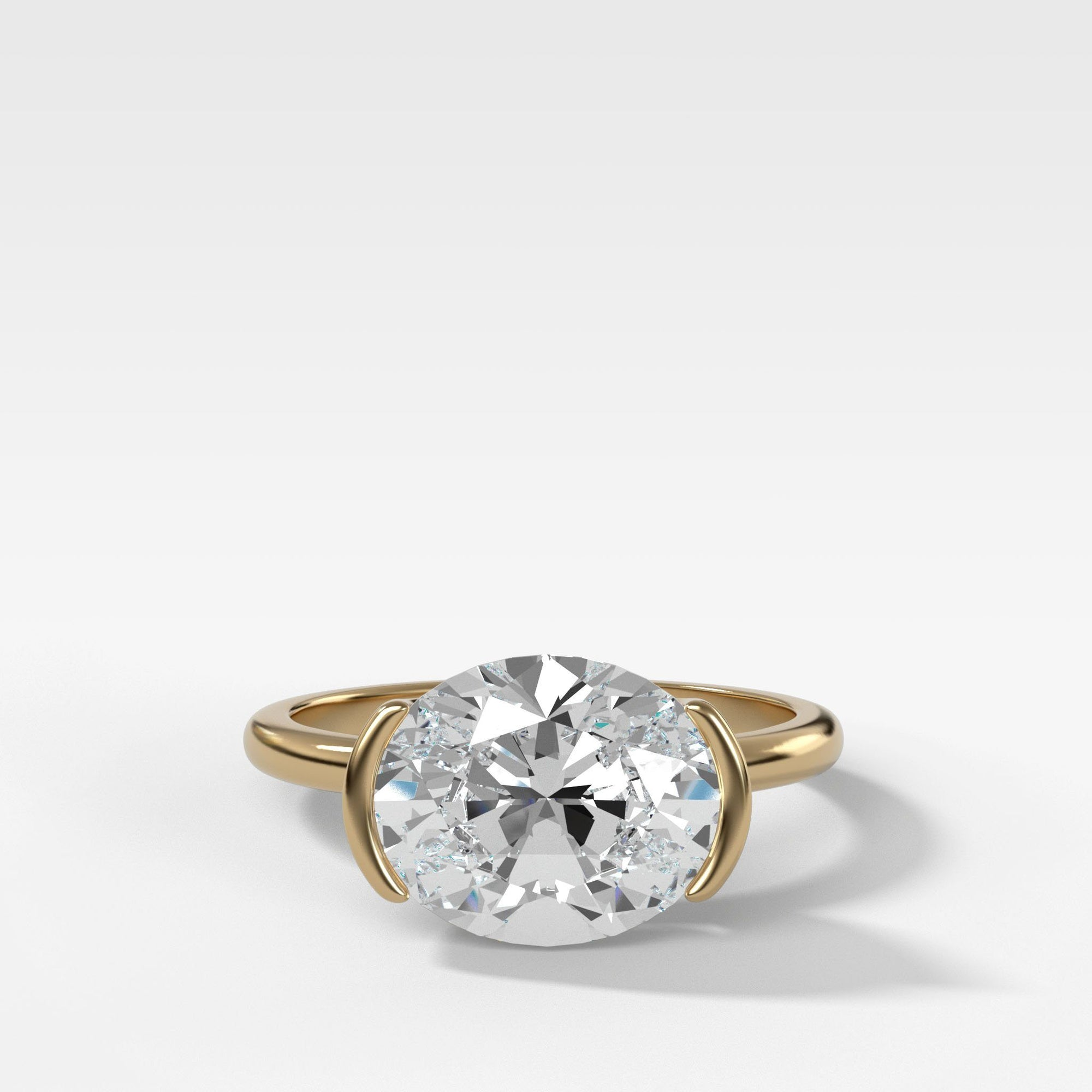 East West Half Bezel Solitaire Engagement Ring With Oval Cut Engagement Good Stone Inc Yellow Gold 14k