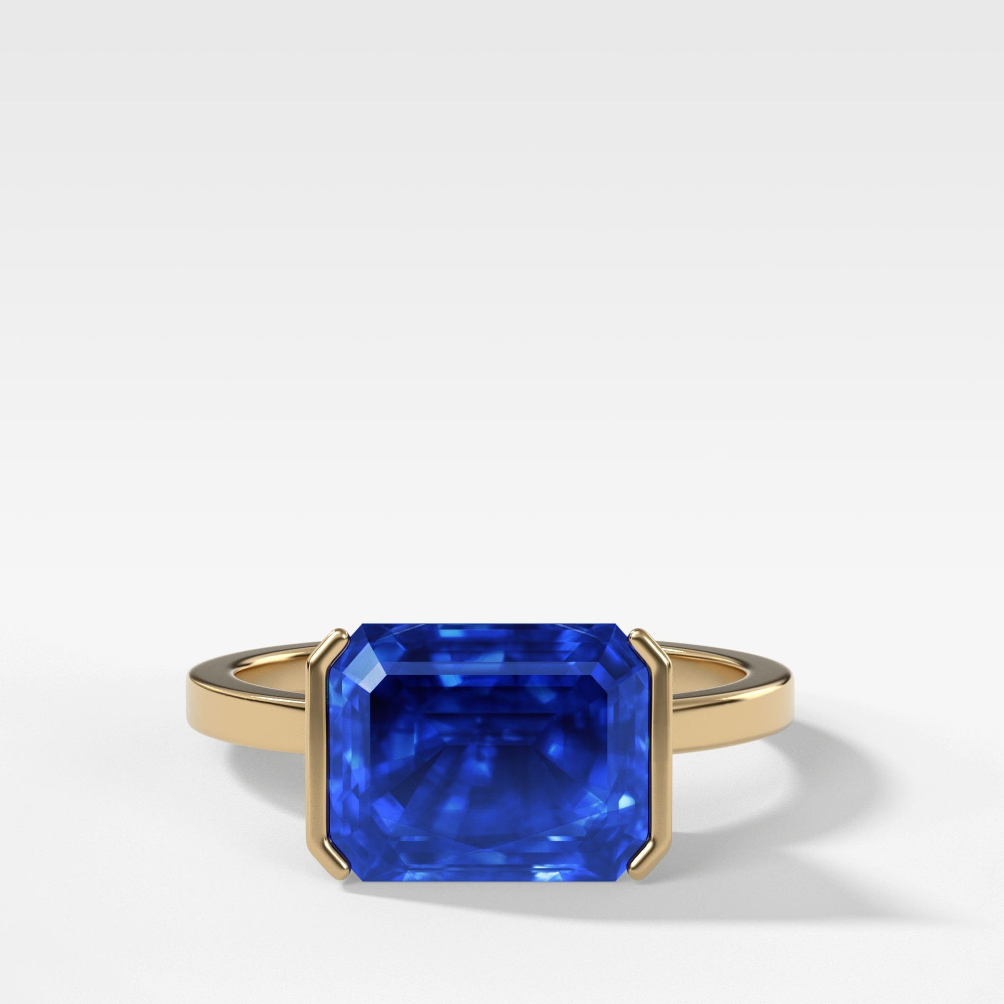 East West Half Bezel Solitaire with 2.99ct Emerald Ceylon Blue Sapphire in Yellow Gold by Good Stone