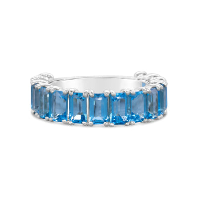 Emerald Cut Blue Topaz Stacker