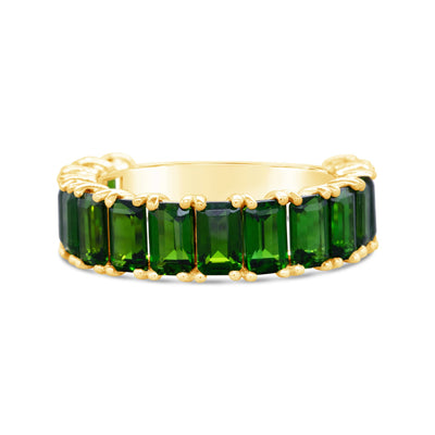 Emerald Cut Green Diopside Stacker
