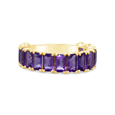 Emerald Cut Purple Amethyst Stacker