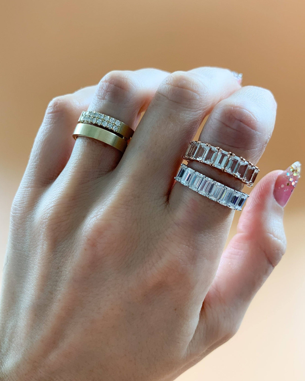 Emerald Cut Constellation Eternity Band available in Gold and Platinum by Good Stone