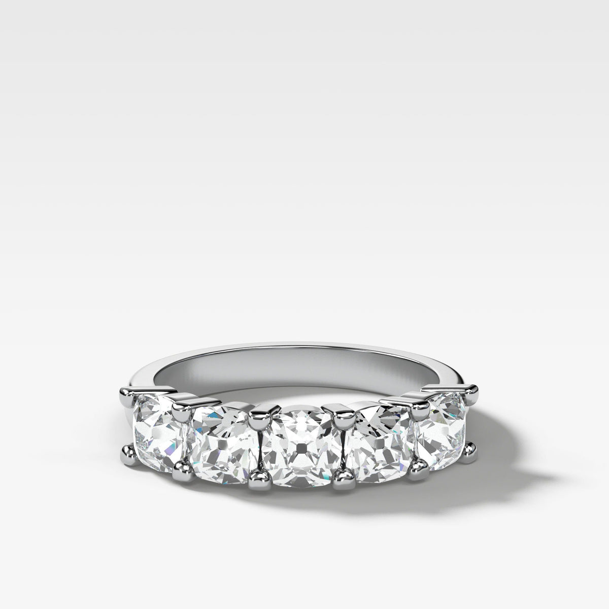 Five Stone Shared Prong Diamond Band With Old Mine Cuts (1.65ctw) In White Gold By Good Stone