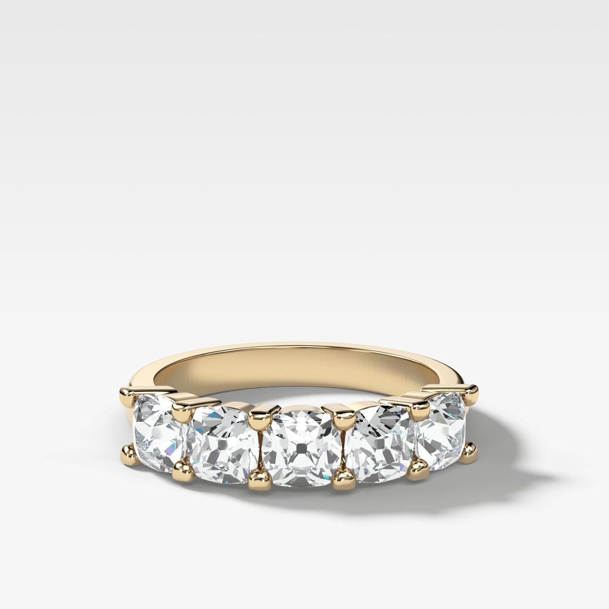 Five Stone Shared Prong Diamond Band With Old Mine Cuts (1.65ctw) In Yellow Gold By Good Stone