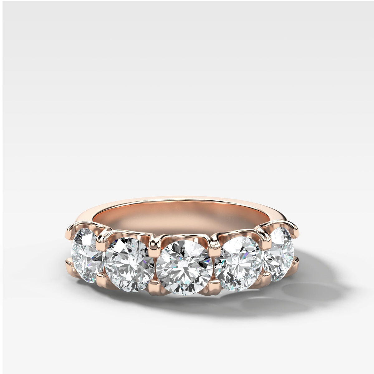 Five Stone Shared Prong Diamond Band With Round Cuts (2.50ctw) In Rose Gold By Good Stone
