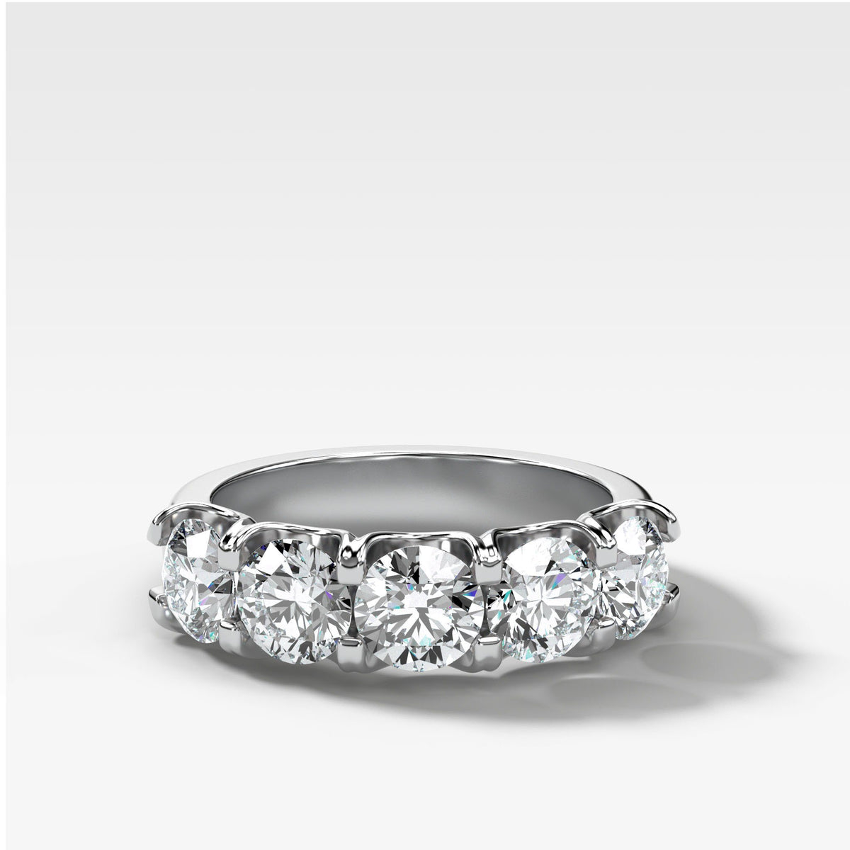 Five Stone Shared Prong Diamond Band With Round Cuts (2.50ctw) In White Gold By Good Stone