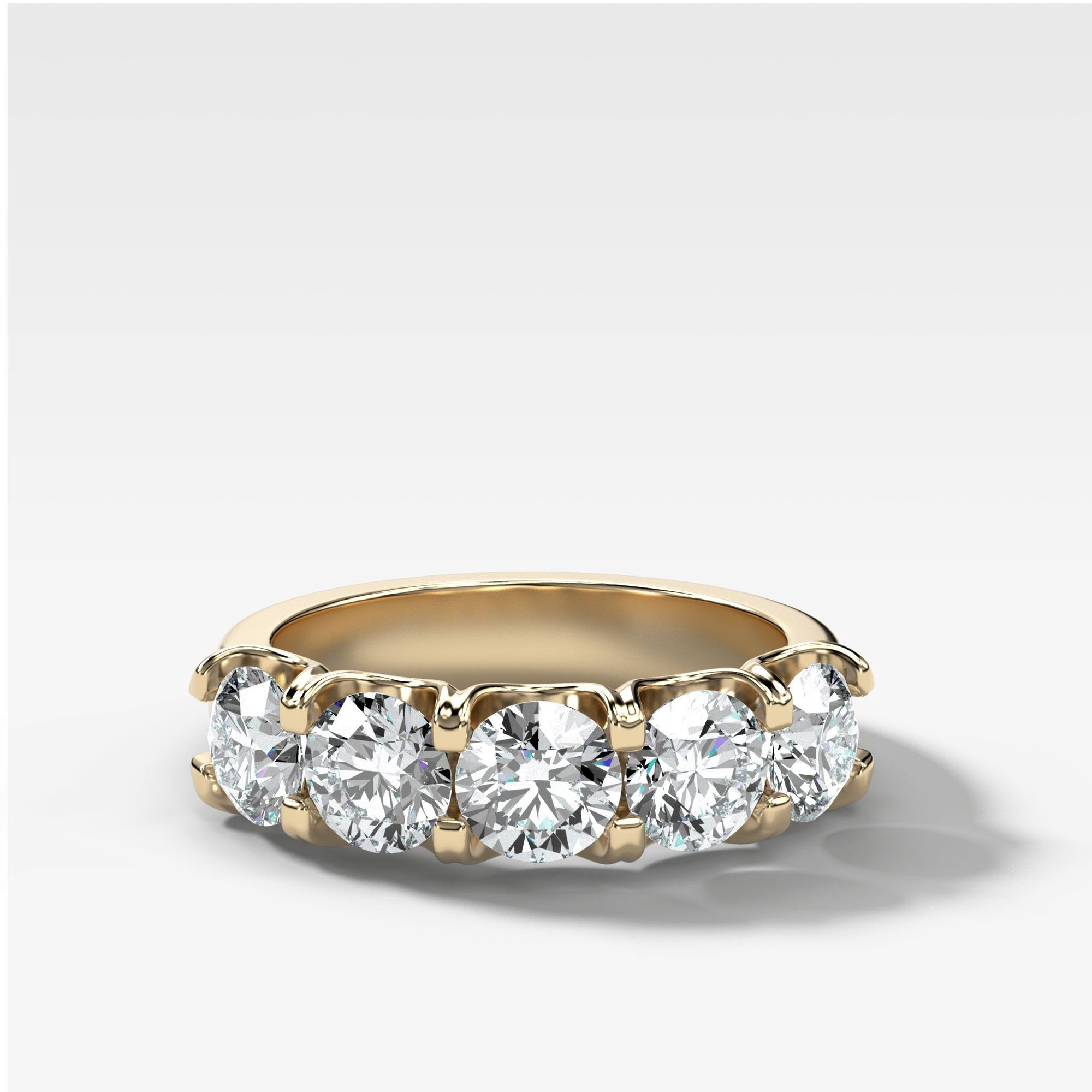 Five Stone Shared Prong Diamond Band With Round Cuts (2.50ctw) In Yellow Gold By Good Stone