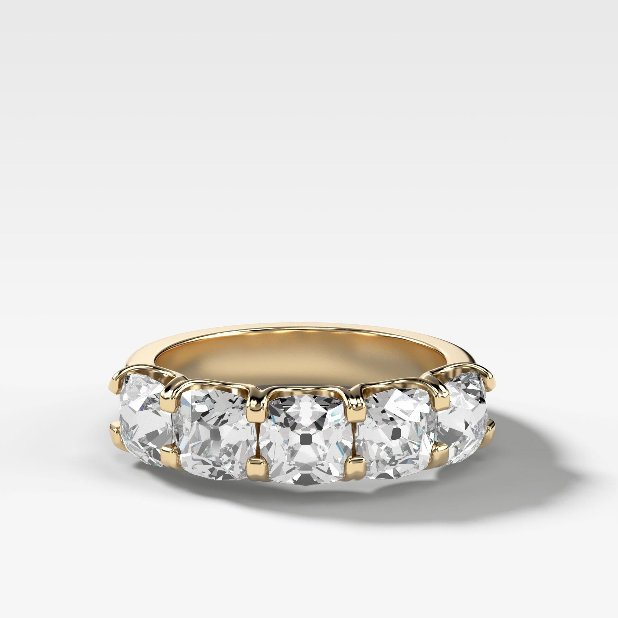 Five Stone Shared Prong Diamond Band With Old Mine Cuts (2.75ctw) In Yellow Gold By Good Stone
