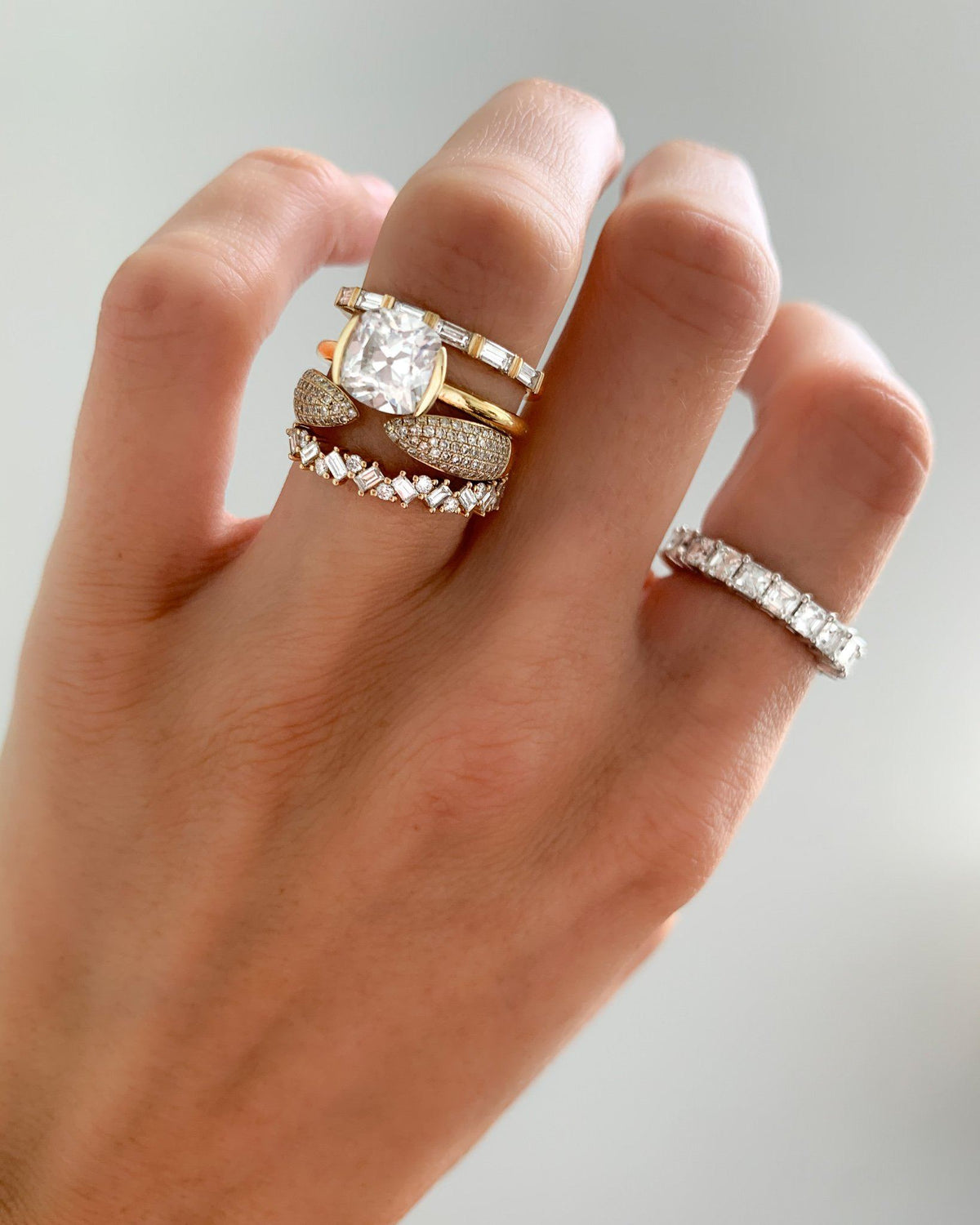 Baguette Diamond Medley Stacker available in Gold and Platinum By Good Stone