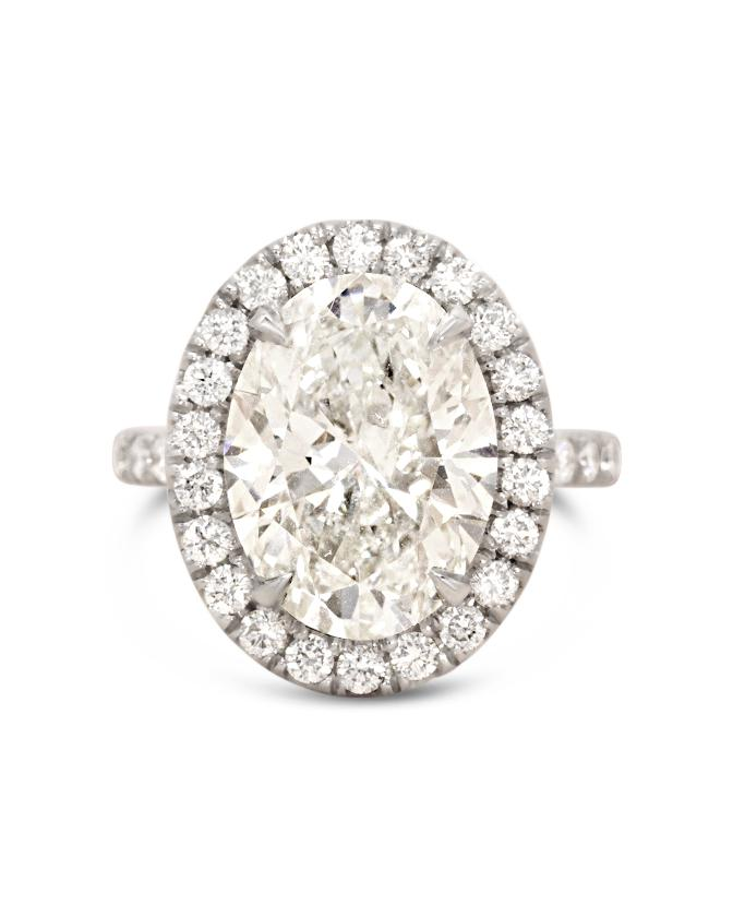 5 carat Oval Diamond in Pave Halo Engagement ring Rings Good Stone Inc