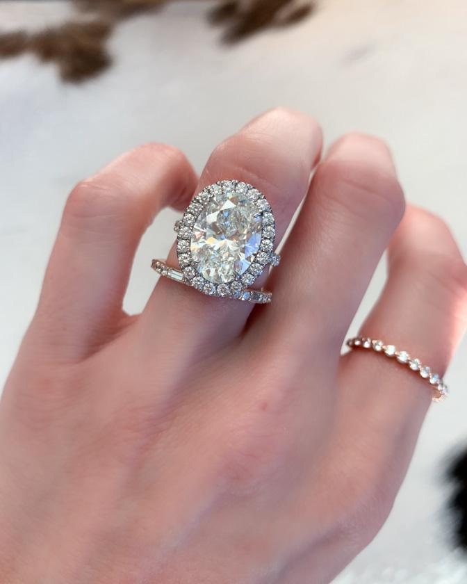5 carat Oval Diamond in Pave Halo Engagement ring