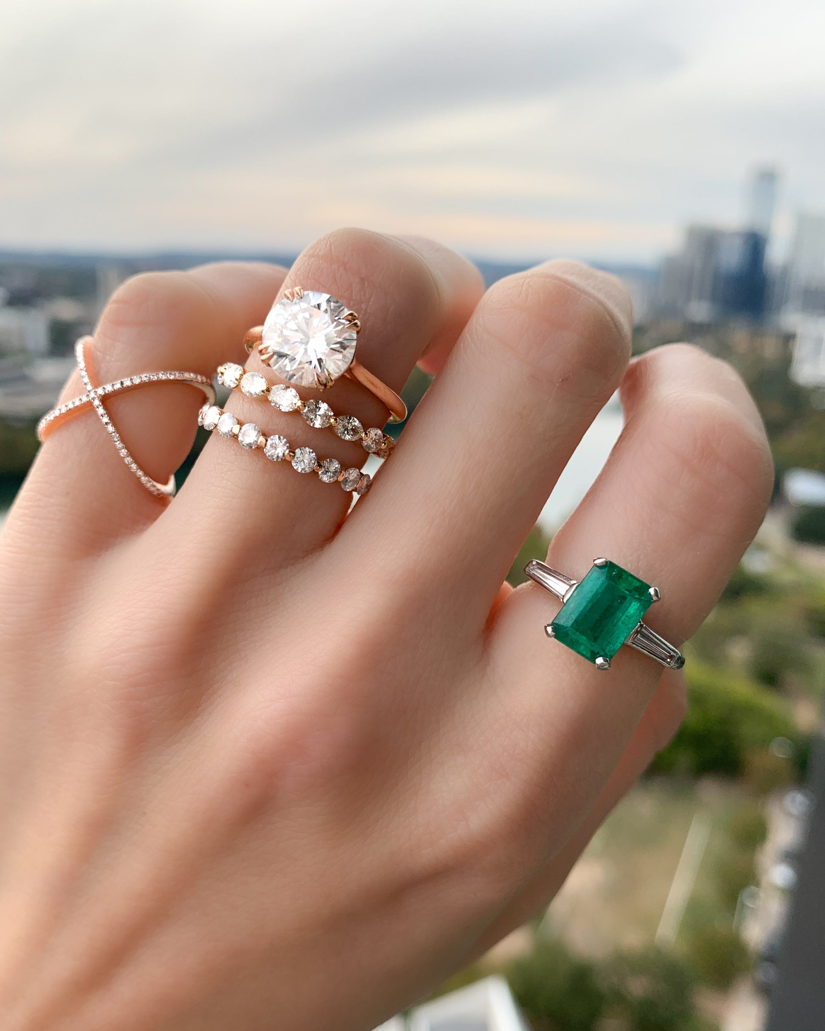 Emerald Cut Emerald Translunar Ring With Tapered Baguette Diamond Side Good Stone Inc