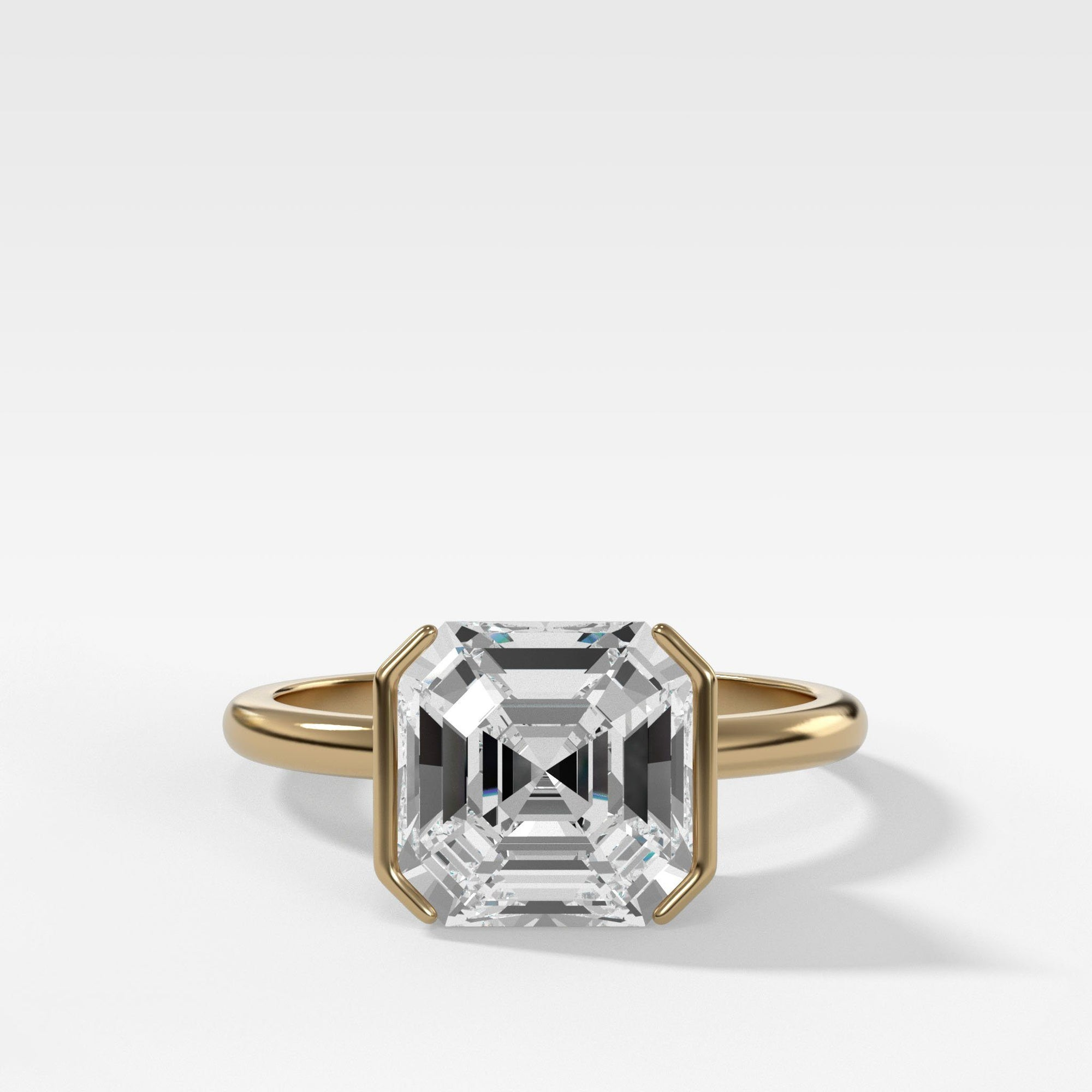 Half Bezel Solitaire Engagement Ring With Asscher Cut In Yellow Gold By Good Stone
