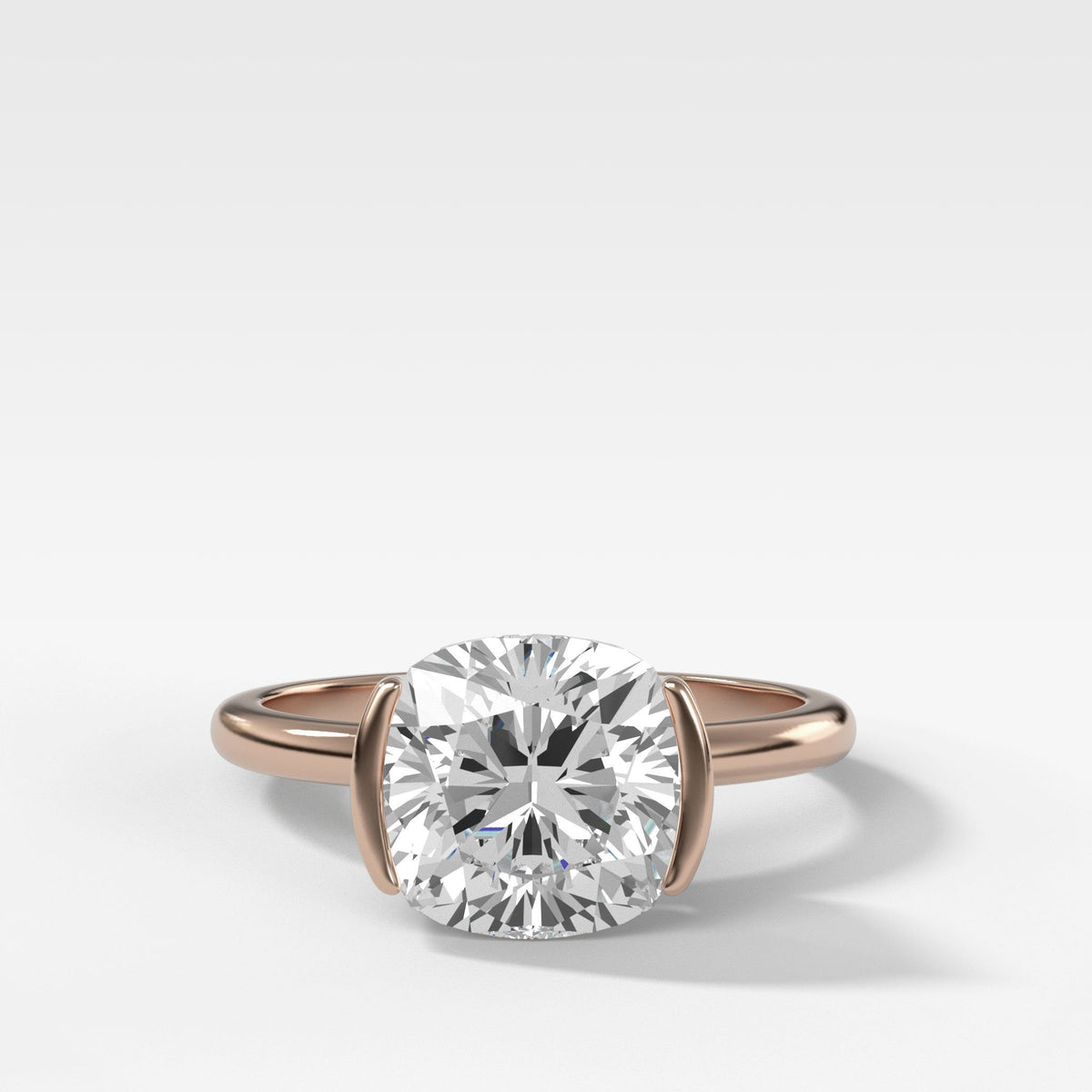 Half Bezel Solitaire Engagement Ring With Cushion Cut in Rose Gold by Good Stone