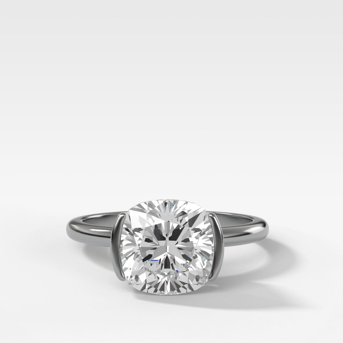 Half Bezel Solitaire Engagement Ring With Cushion Cut in White Gold by Good Stone