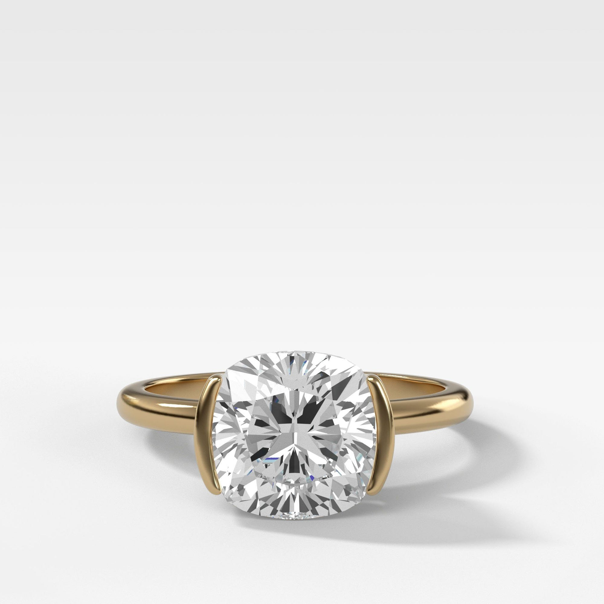 Half Bezel Solitaire Engagement Ring With Cushion Cut in Yellow Gold by Good Stone