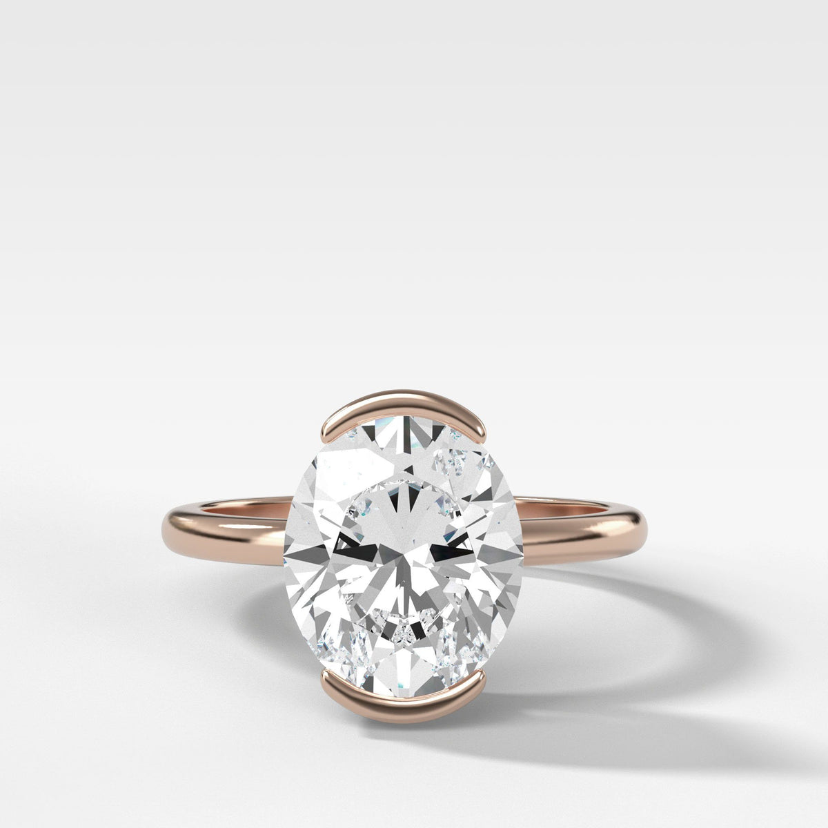 North South Half Bezel Solitaire Engagement Ring With Oval Cut In Rose Gold By Good Stone
