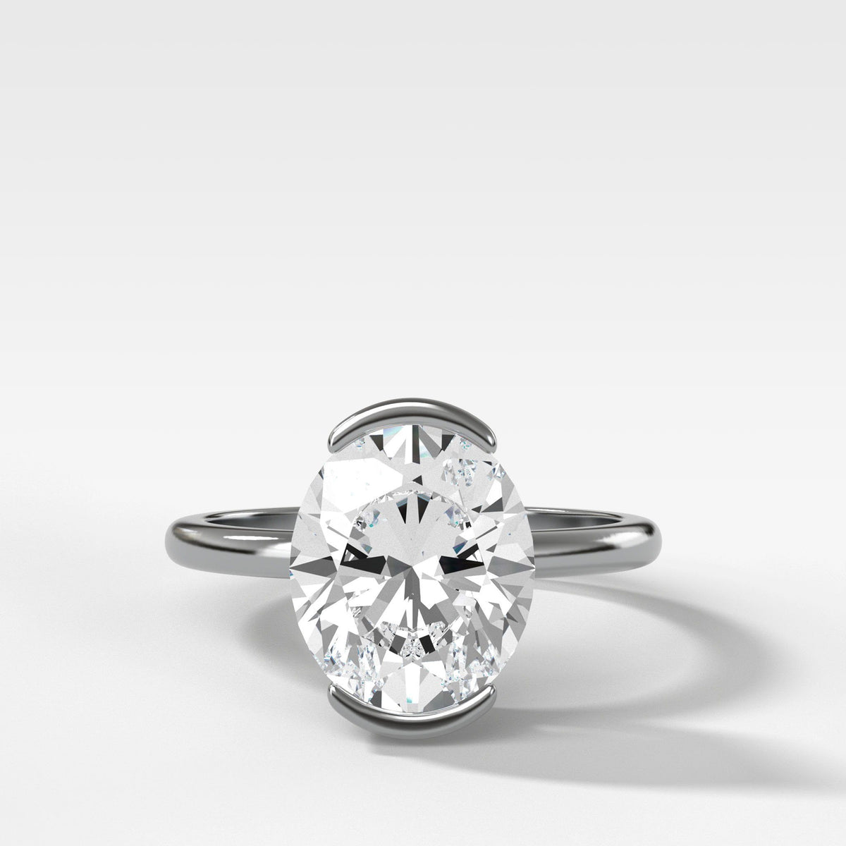 North South Half Bezel Solitaire Engagement Ring With Oval Cut In White Gold By Good Stone
