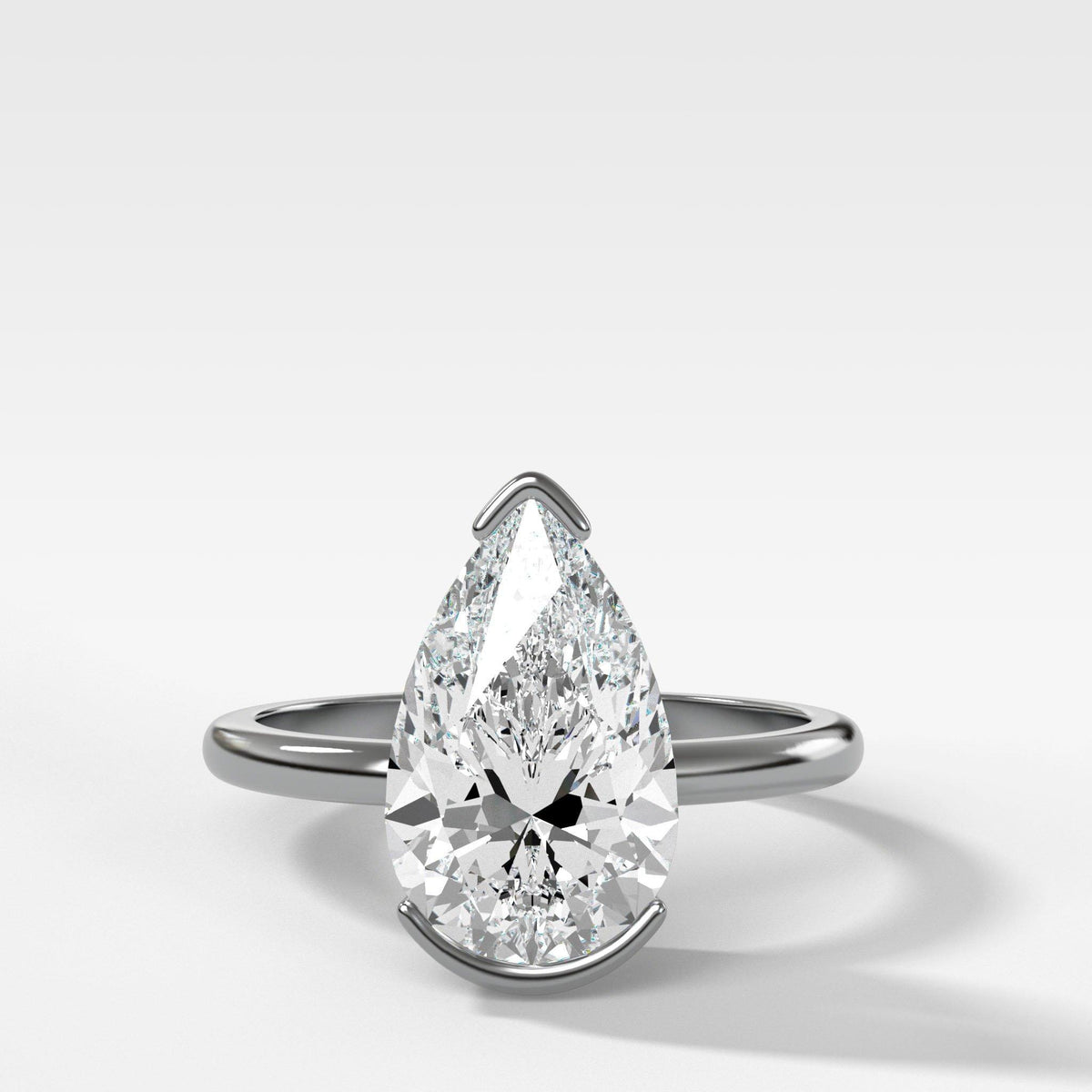 North South Half Bezel Solitaire Engagement Ring With Pear Cut in White Gold by Good Stone