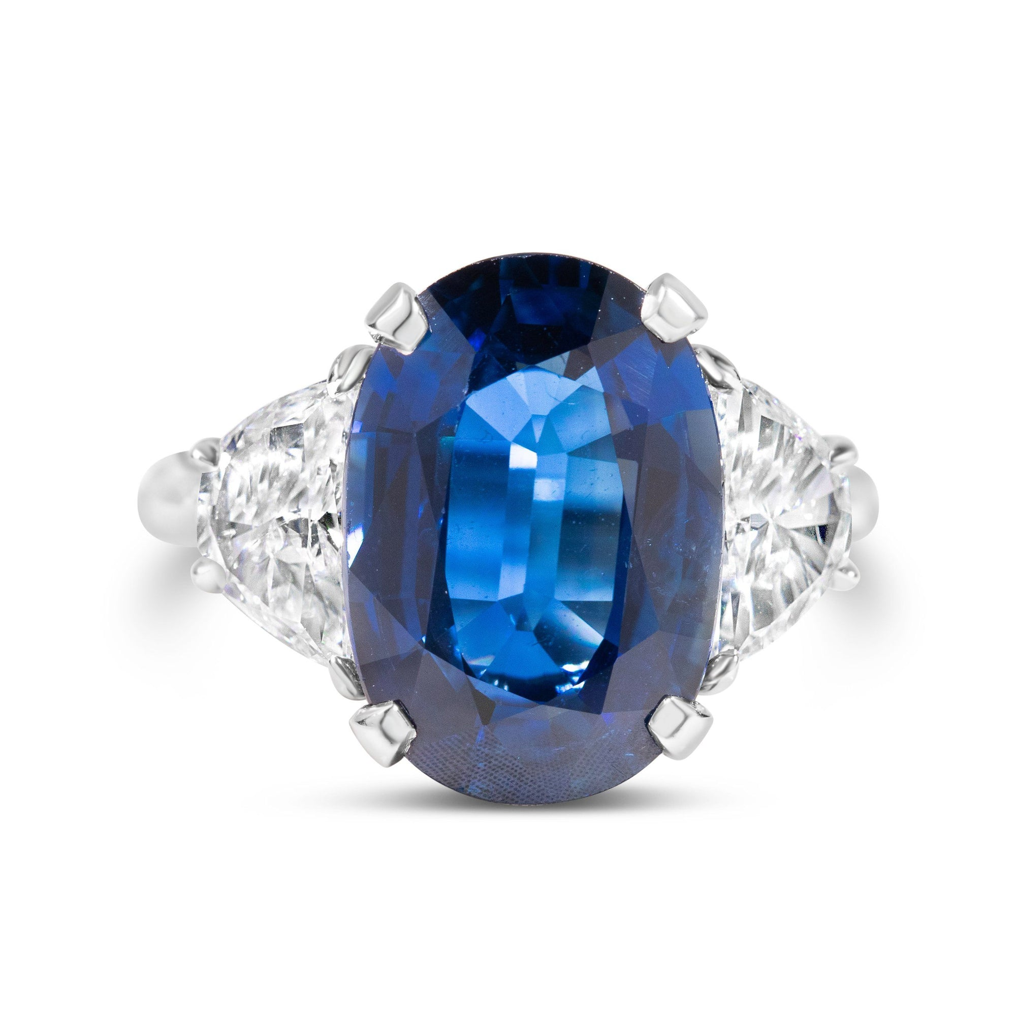 7.49ct Oval Cut Sapphire with Half Moon Side Stones