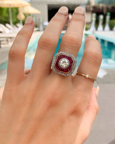 Vintage Ruby and Diamond Two Tone Art Deco Halo setting