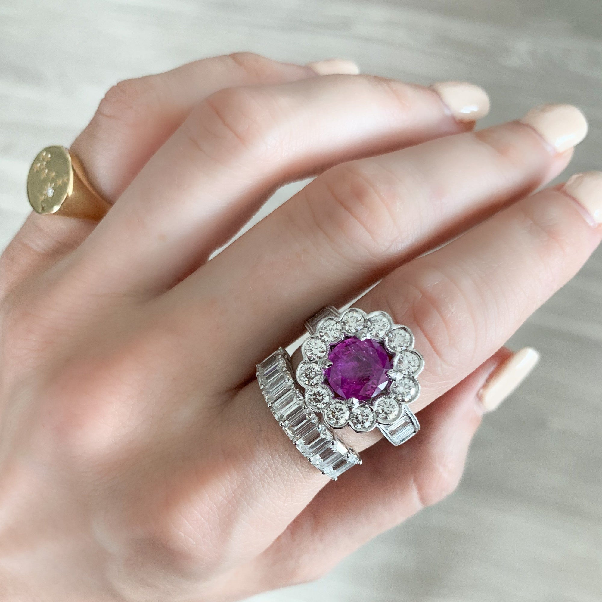 Antique Floral Halo with a 2.68ct Pink Sapphire and Art Deco Style Baguette diamonds Rings Good Stone Inc